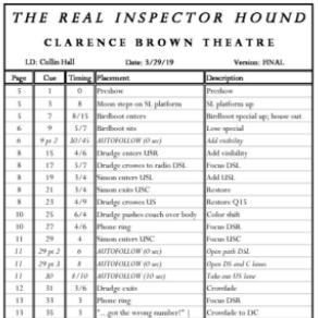 Inspector Hound Cue Sheet Thumbnail